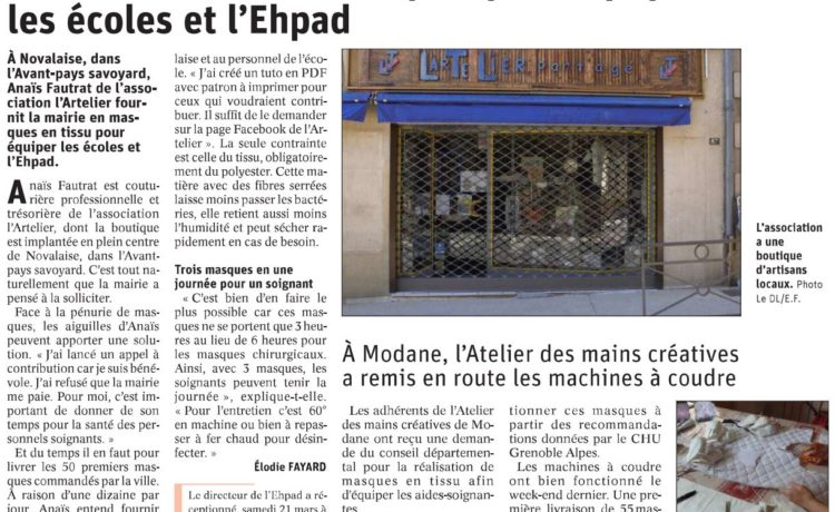 Dauphiné Libéré | Vendredi 27 mars 2020